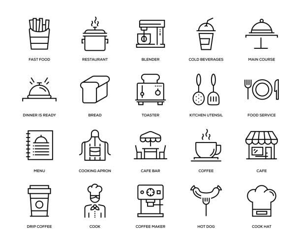 Cafe Icon Set Cafe Icon Set - Thin Line Series chef's hat stock illustrations