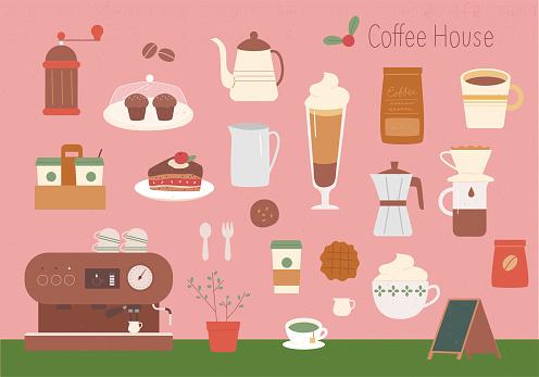Cafe icon set.