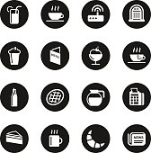 Cafe Icons Black Circle Series Vector EPS10 File.