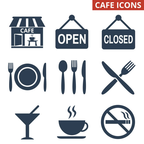 illustrazioni stock, clip art, cartoni animati e icone di tendenza di cafe icons set on white background. - cena