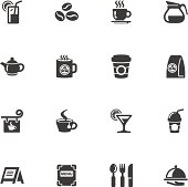 Illustration of cafe icons on the white.