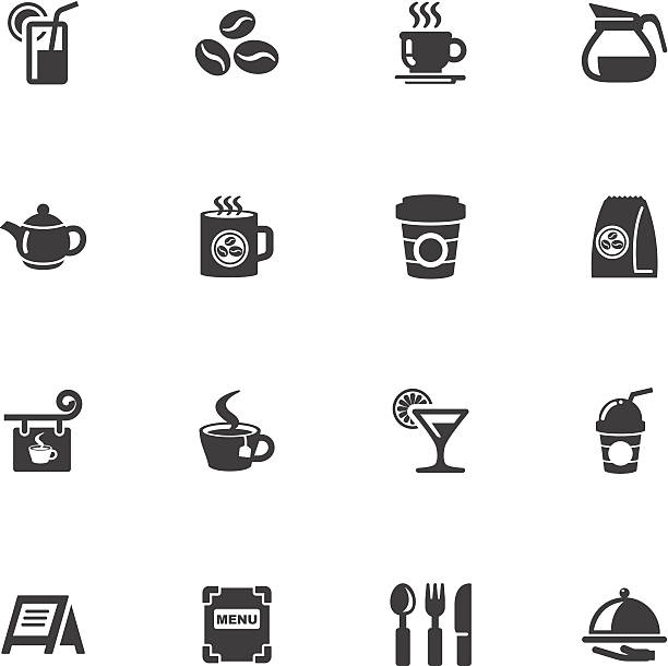 cafe icons Illustration of cafe icons on the white. coffee pot stock illustrations