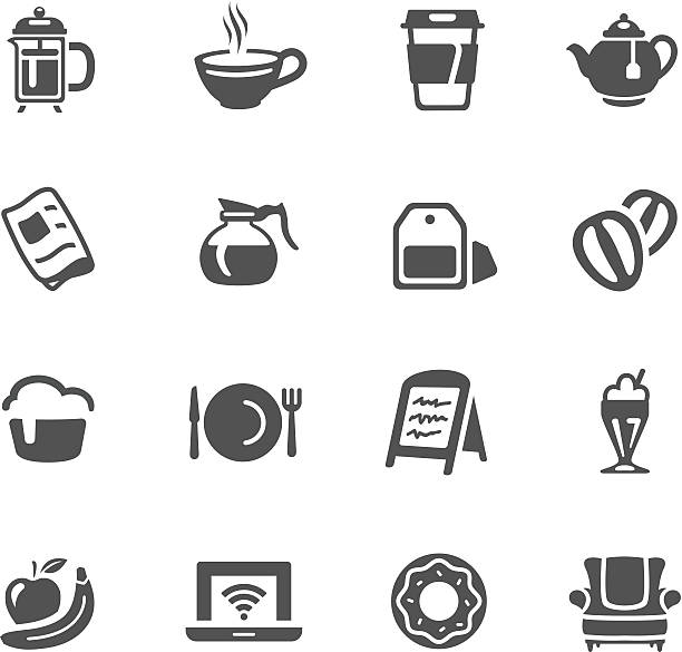 Cafe Icons http://www.cumulocreative.com/istock/File Types.jpg coffee pot stock illustrations