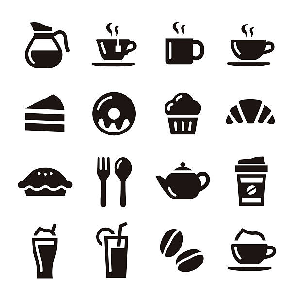Cafe icons Cafe elements illustration coffe, tea and sweets teapot stock illustrations