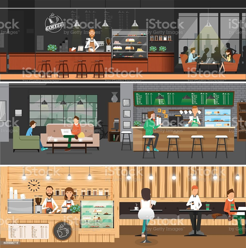 Cafe interior Banner flat style vector art illustration