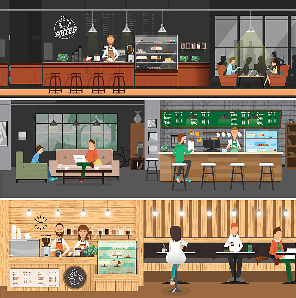 cafe interior banner flat style - barista stock illustrations, clip art, cartoons, & icons
