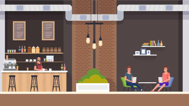 カフェのインテリア。バリスタと訪問者。平面ベクトル - バリスタ点のイラスト素材/クリップアート素材/マンガ素材/アイコン素材