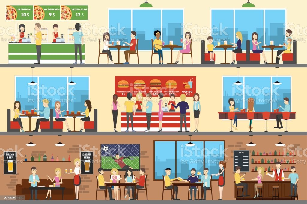 Cafe interior set. vector art illustration