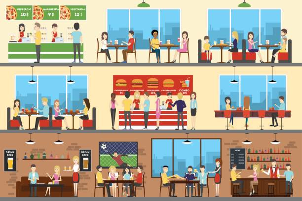 Cafe interior set. Cafe interior set. Pizza, fast food and sport bar. cafe stock illustrations