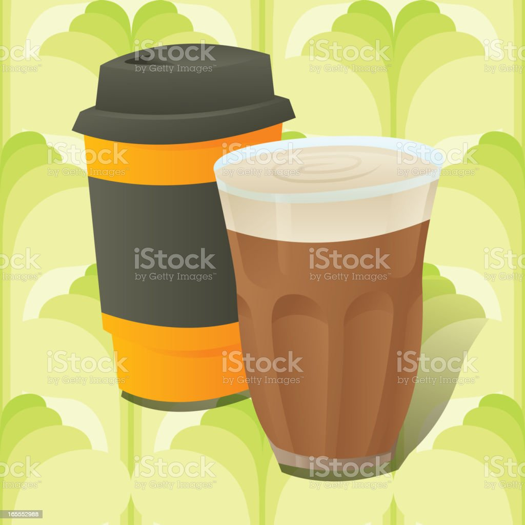 Cafe Latte with Cup on Seamless Background royalty-free stock vector art