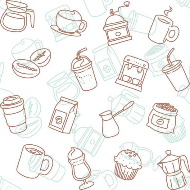 cafe line art icon seamless wallpaper pattern vector art illustration