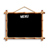 Menu Board. Cafe Or Restaurant Menu Bulletin Black Board. Isolated On White Background. Realistic