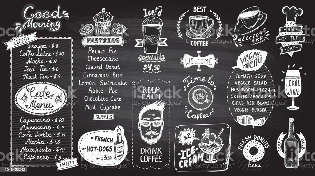 cafe menu chalkboard design set hand drawn line graphic illustration
