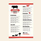 Cafe menu grill.
