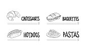 Original cafe menu template with croissant, hot dog, baguette, and plate of pasta. Tasty meal. Food theme. Illustrations in sketch style isolated on white background. Hand drawn vector design.