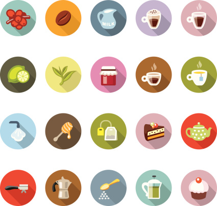 Cafe Modico Icons Stock Illustration - Download Image Now