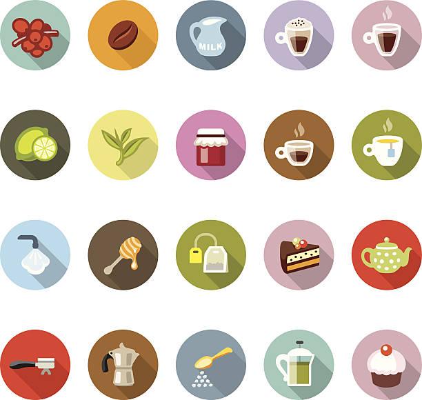 café/modico symbole - tassenkuchen stock-grafiken, -clipart, -cartoons und -symbole