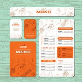 Cafe or restaurant identity template includes example menu, brochure, cards and banner. Food design Vector illustration.