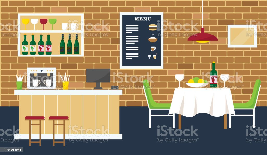 Cafe Or Restaurant Interior Design With Bar Coffee Shop And Table Vector Illustration Stock Illustration Download Image Now Istock