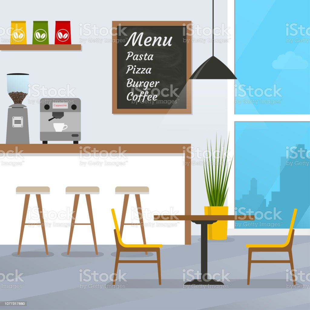 Cafe Or Restaurant Interior Design With Coffee Shop And Bar Counter Vector Illustration Stock Illustration Download Image Now Istock