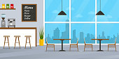 Cafe or restaurant interior design with coffee shop, bar counter and window. Vector illustration.