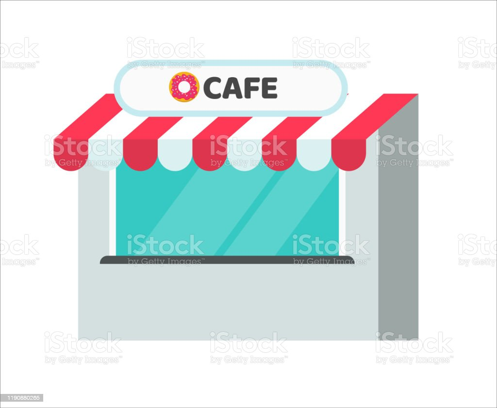 Cafe Or Restaurant Shop Building Vector Illustration Flat Cartoon Store Or Market Boutique Front View Isolated On White Clipart Stock Illustration Download Image Now Istock