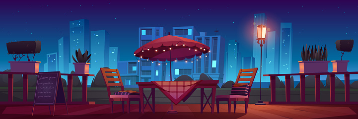 Cafe or restaurant terrace at night