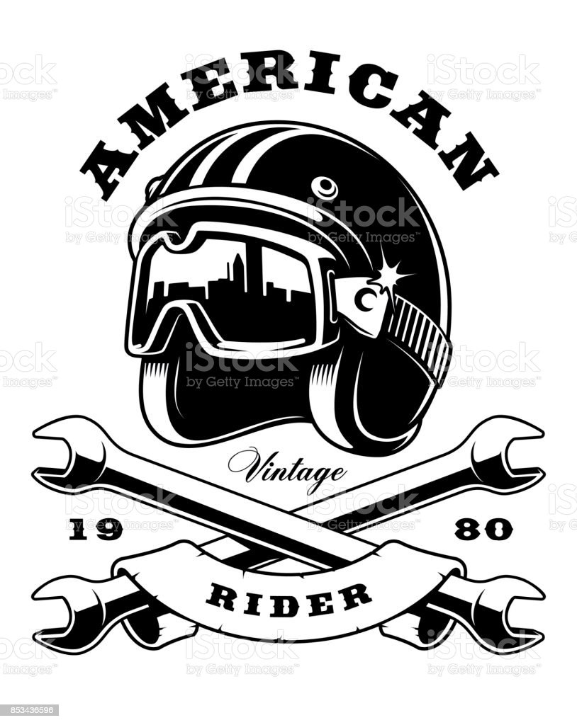 cafe racer helmet with wrenches on white background stock vector art BMW Cafe Racer Motorcycles cafe racer helmet with wrenches on white background illustration