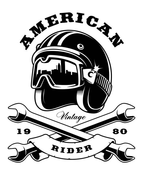 ilustrações de stock, clip art, desenhos animados e ícones de cafe racer helmet with wrenches on white background - helmet motorbike