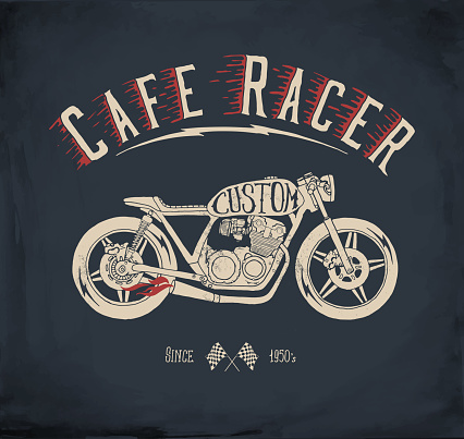 Cafe Racer Motorcycle. Vintage hand drawn styled vector illustration.
