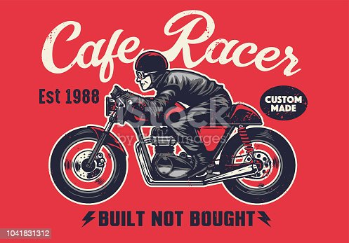 vector of cafe racer t-shirt design in vintage style