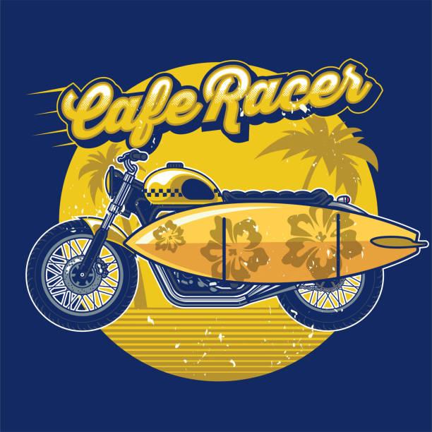 bildbanksillustrationer, clip art samt tecknat material och ikoner med café racer med surfbräda i sommar designkoncept - surf garage