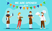 istock Cafe reopening. Template for banner with chef cook, waiters and message We are opened, Welcome 1258995939