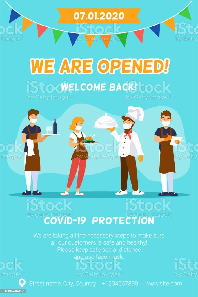 Cafe Reopening Vertical Template For Banner With Chef Waiters And Message We Are Opened Welcome Stock Illustration Download Image Now Istock