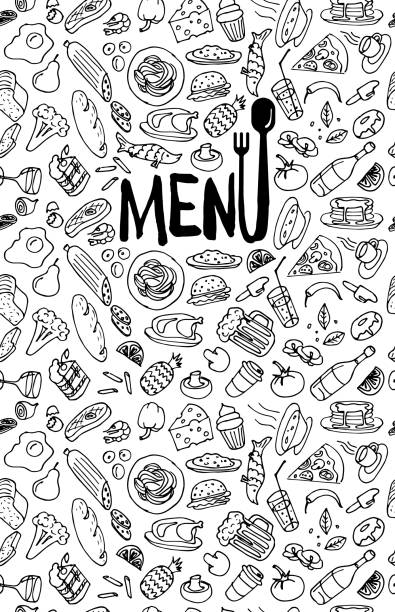 Cafe restaurant menu cover design template. Title page with hand drawn food doodle outline colored sketch pattern on white background. Vector cooking element illustration Cafe restaurant menu cover design template. Title page with hand drawn food doodle outline colored sketch pattern on white background. Vector poster with cooking element illustration cooking drawings stock illustrations