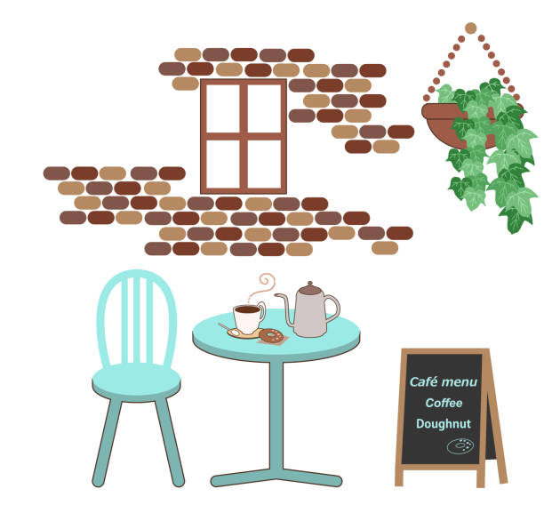 Cafe scene with coffee and donut vector art illustration