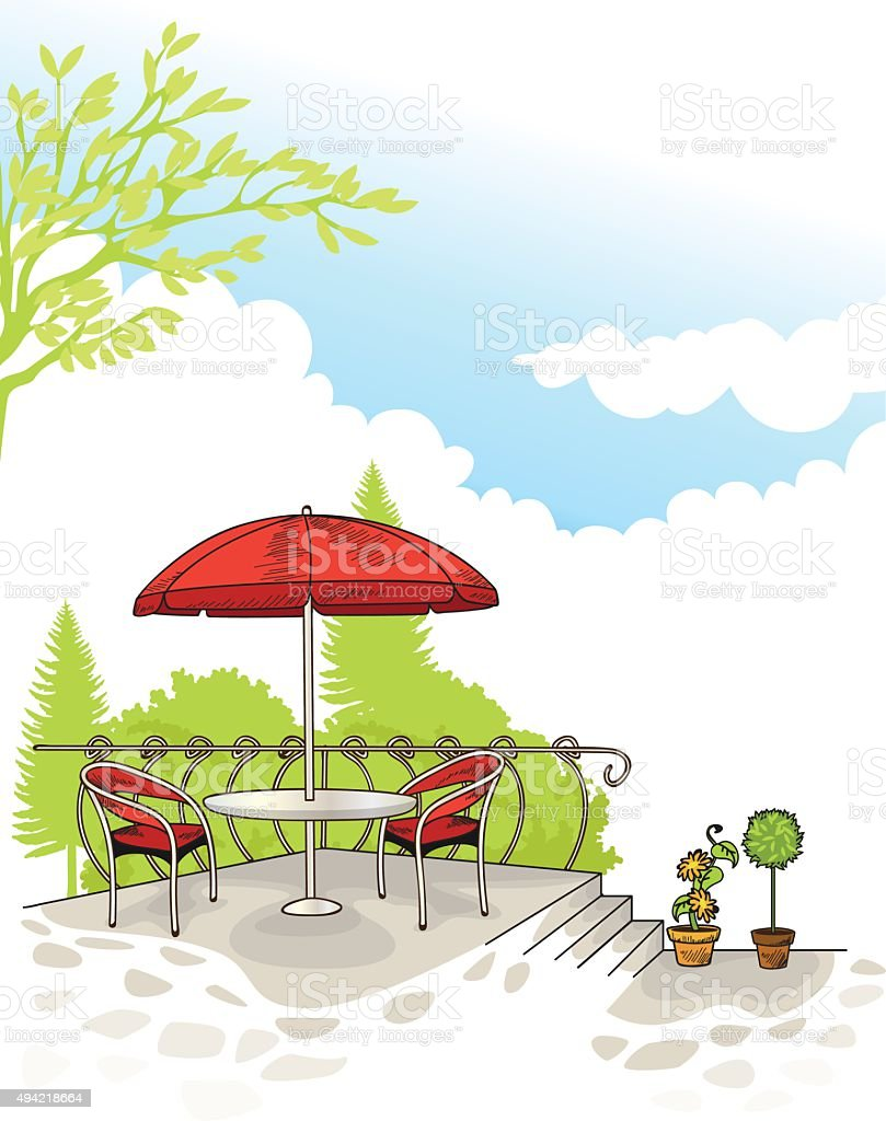 Cafe Scenery vector art illustration