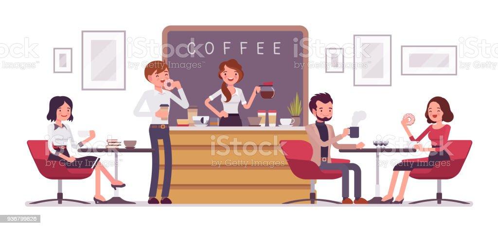 Tienda de café y personas relajantes - ilustración de arte vectorial