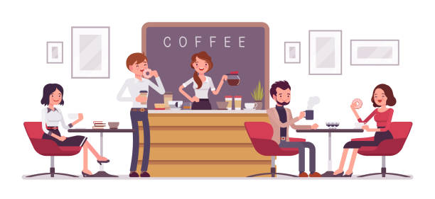 Cafe shop and people relaxing Cafe shop and people relaxing. Modern place interior to meet, drink and eat, chat, have a rest, enjoy free time, barista girl makes and serves coffee for public. Vector flat style cartoon illustration cafe stock illustrations