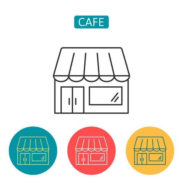 Cafe Shop Gebäude Umrisse Icons gesetzt. – Vektorgrafik
