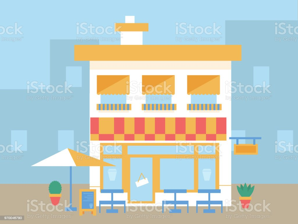 Cafe Shop With Tables And Plants Royalty Free Cafe Shop With Tables And  Plants Stock