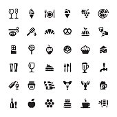 Cafe & snacks related symbols and icons.
