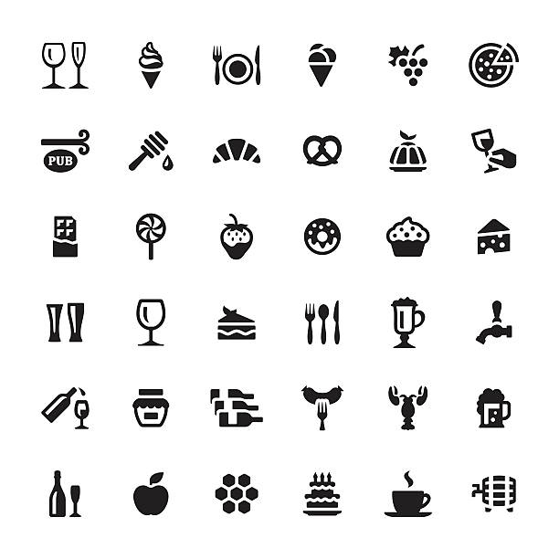 Cafe & snacks vector symbols and icons vector art illustration