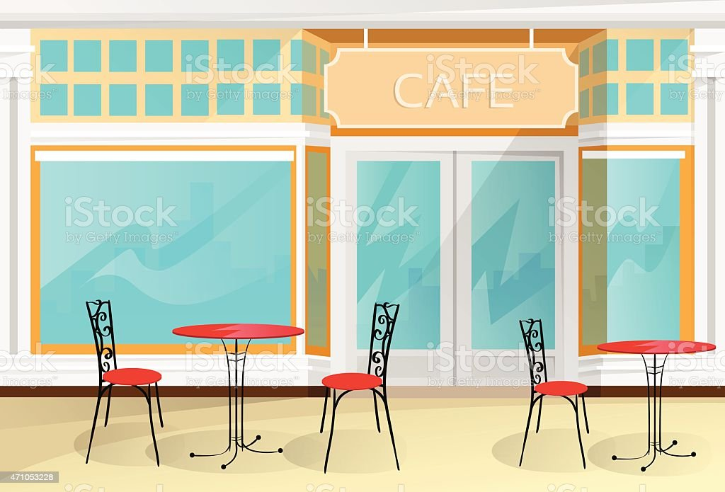 Cafe Street Coffee Shop Chairs Table Vector