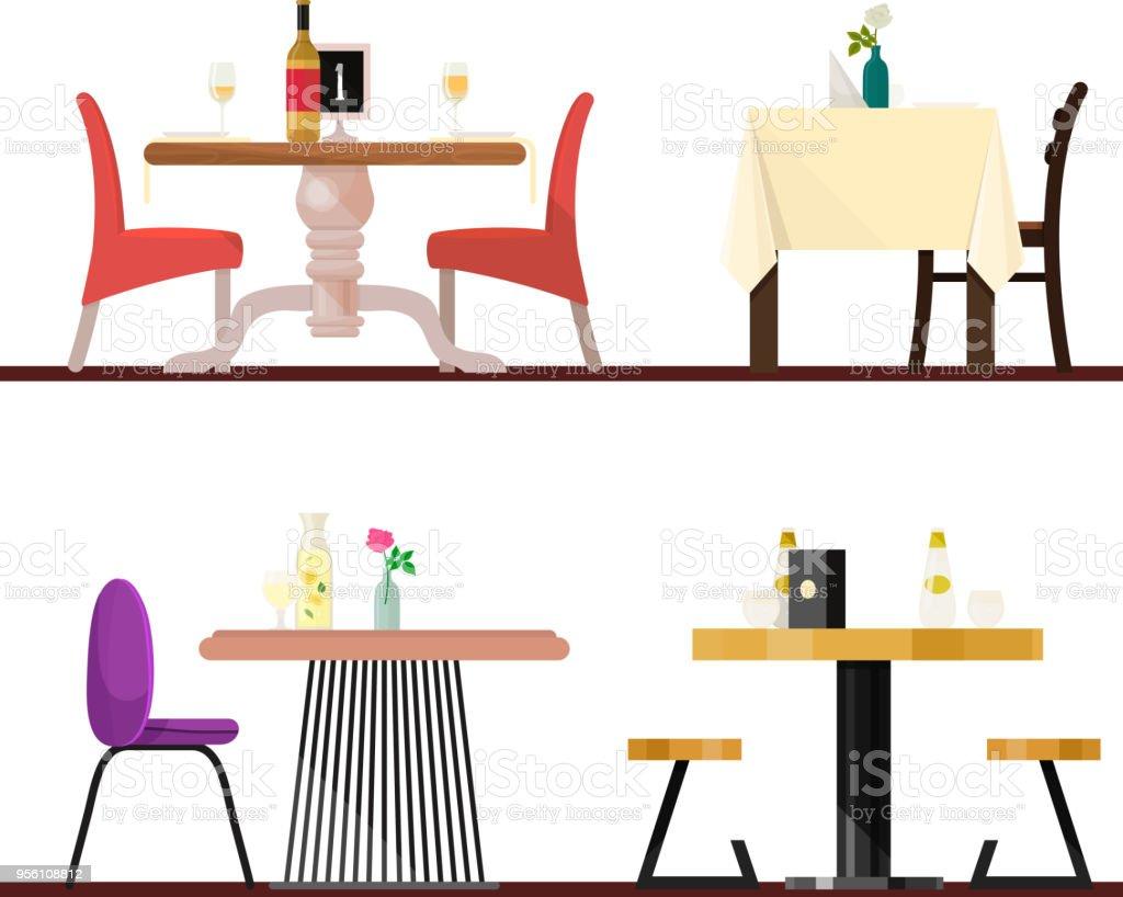 Cafe Tische Im Restaurant Einstellung Vektor Küche Möbel Tisch Und ...