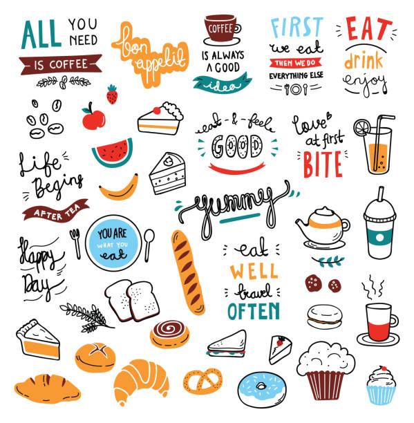 ilustraciones, imágenes clip art, dibujos animados e iconos de stock de elementos de cafe tema doodle - comida francesa