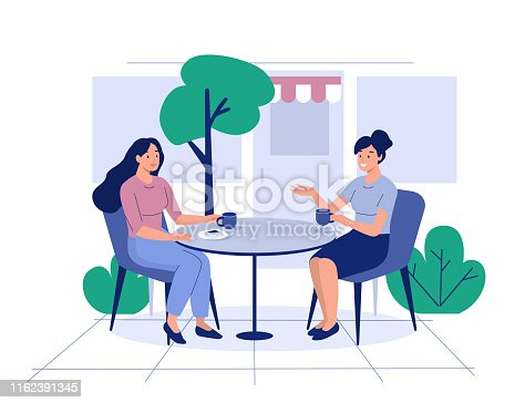 Two girls sit in cafe and drink coffee. Flat style modern vector illustration.