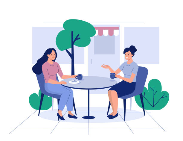 cafe Two girls sit in cafe and drink coffee. Flat style modern vector illustration. two people stock illustrations