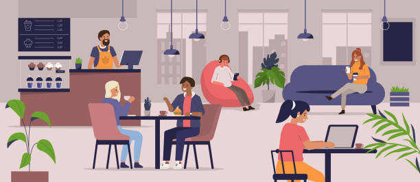 cafe Young People Characters Dinning and Working in modern Coffehouse. Woman and Man Talking and Drinking Coffee. Coworking Loft Office with Cafe. Flat Cartoon Vector Illustration. cafe stock illustrations