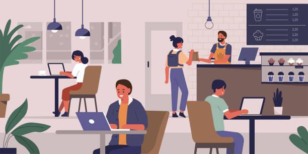 ilustrações de stock, clip art, desenhos animados e ícones de cafe - coffe shop